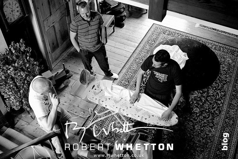 Ben doing the ironing with the lads - Dorset Wedding Photographer Robert Whetton