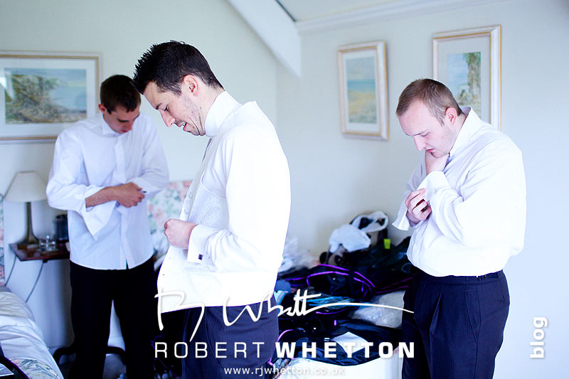 Ben and the lads getting dressed - Dorset Wedding Photographer Robert Whetton