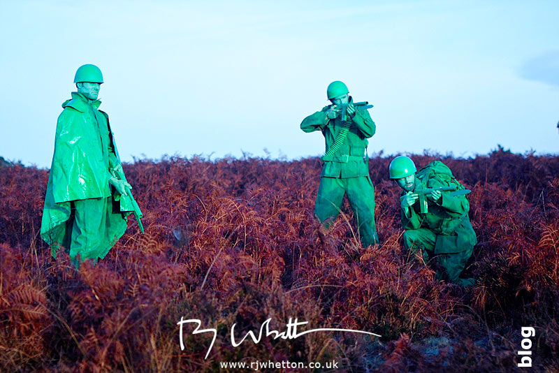 Setup shot of green army men - Production Photography Dorset