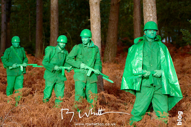 Green army men walking though forest - Production Photography Dorset