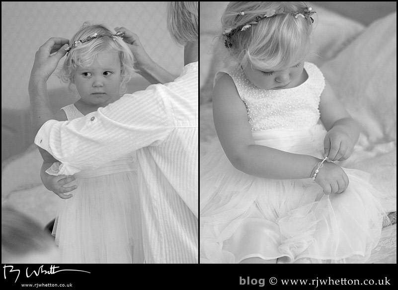 Youngest bridesmaid gets ready - Professional Wedding Photography Dorset