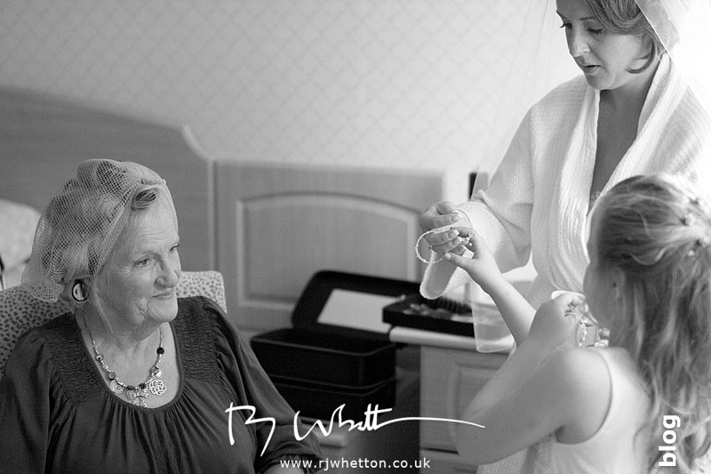 Mum with hair in curlers - Professional Wedding Photography Dorset