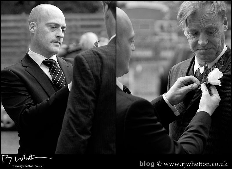 Ushers get themselves ready outside the church - Professional Wedding Photography Dorset