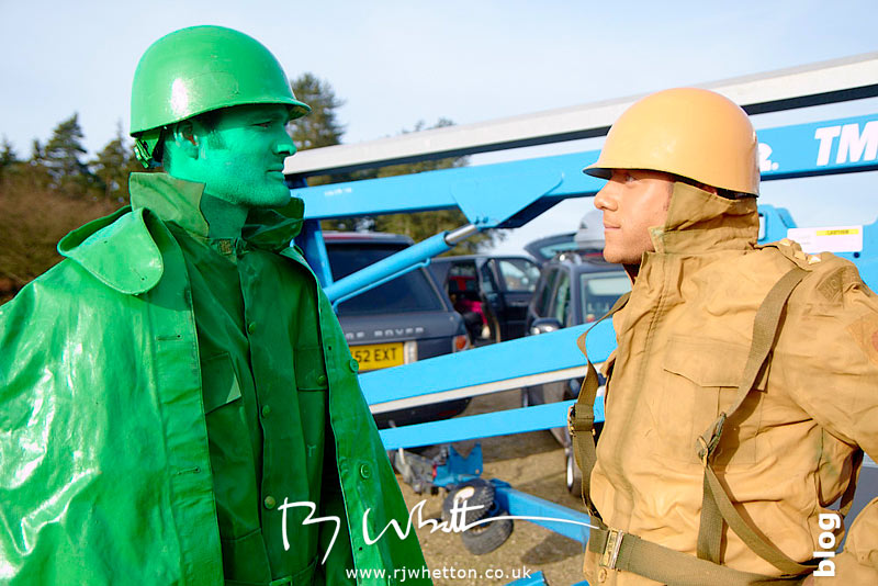 Green army meets orange army - Production Photography Dorset