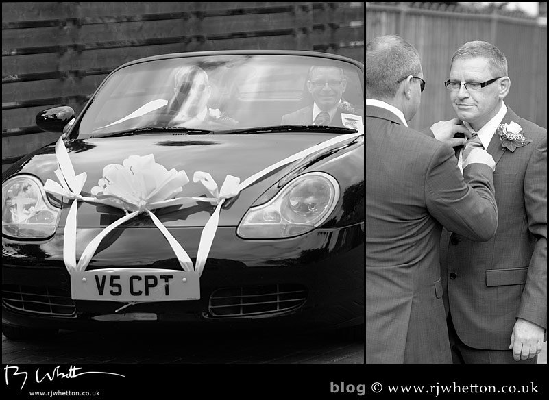 Darren arrives with his best man - Professional Wedding Photography Dorset