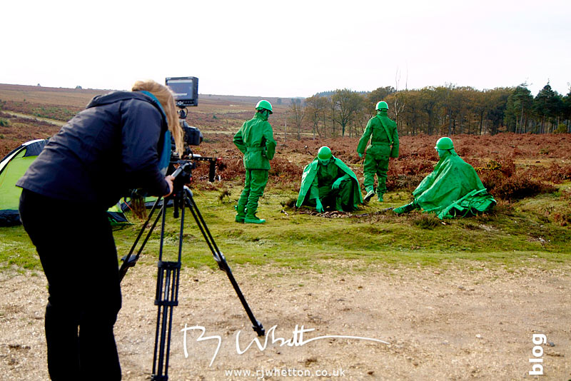 Camp fire scene filmed from ground - Production Photography Dorset
