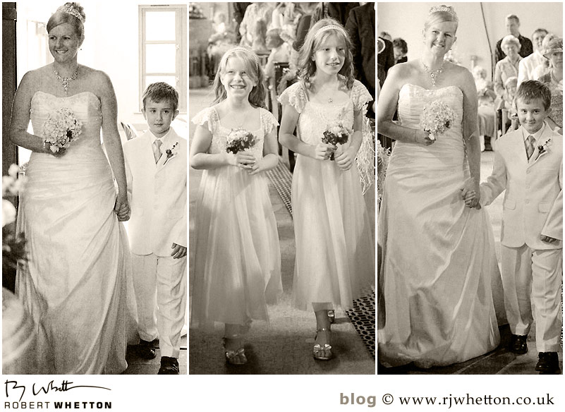 Leah walking down the isle - Dorset Wedding Photographer Robert Whetton