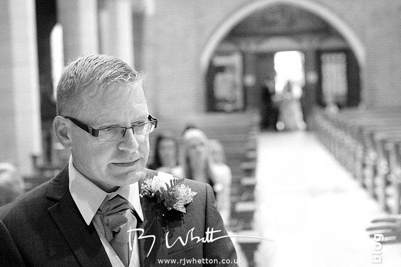 arren anxiously waits for Rebecca - Professional Wedding Photography Dorset