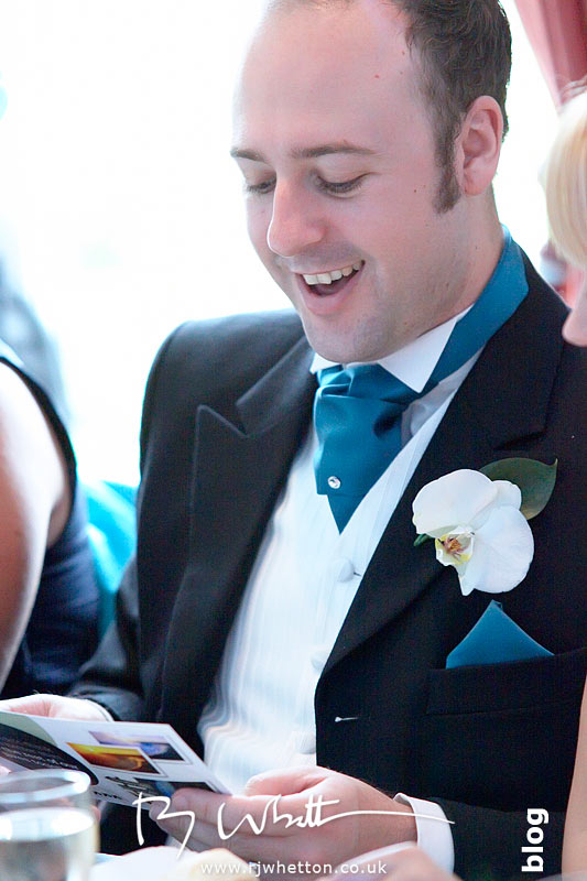 North Devon Wedding with Matt Fryer - Ash enjoying a telegram sent by a well wisher