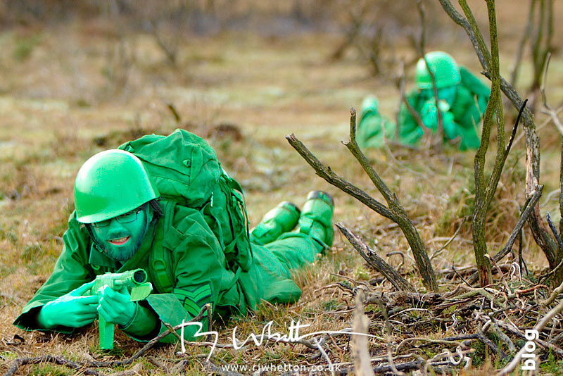 Green army men under fire - Production Photography Dorset