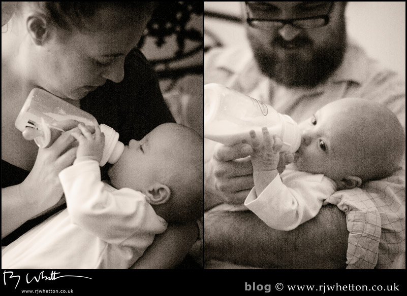 Scout and Harper have their last bottle in the low light of the bedside light -   Baby Portraits - Professional Portraits Dorset