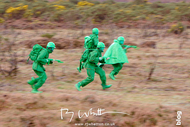 Green army rushing into cover - Production Photography Dorset