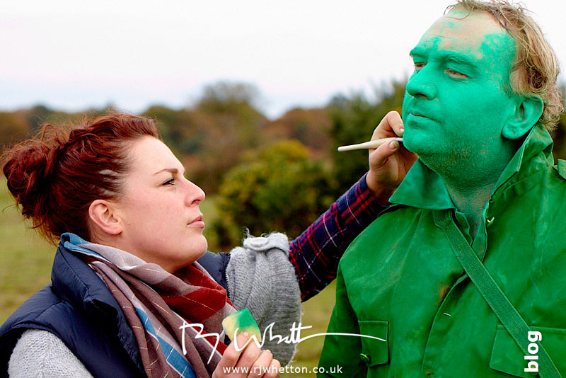 Andy Duerden has his green make-up topped up - Production Photography Dorset