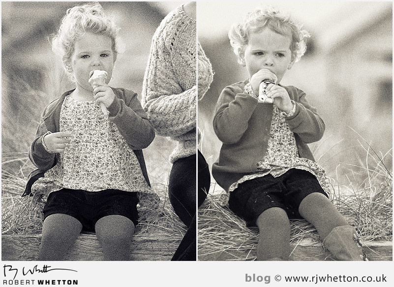 Close up of the girls eating their ice creams - Portrait Photography Dorset