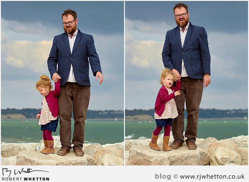 Dom and Scout standing on rocks at Hegistbury Head - Portrait Photography Dorset