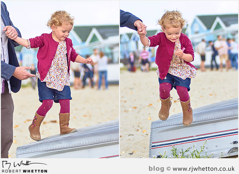 Harper jumps off of a rowing boat - Portrait Photography Dorset