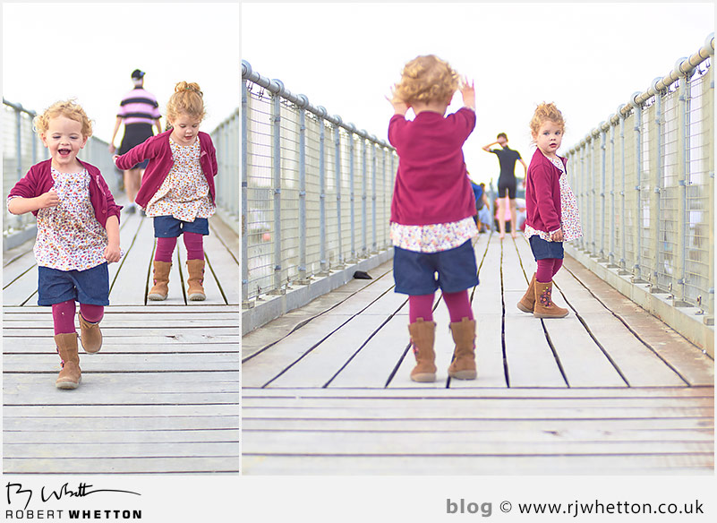 Harper and Scout play on the gang plank - Portrait Photography Dorset