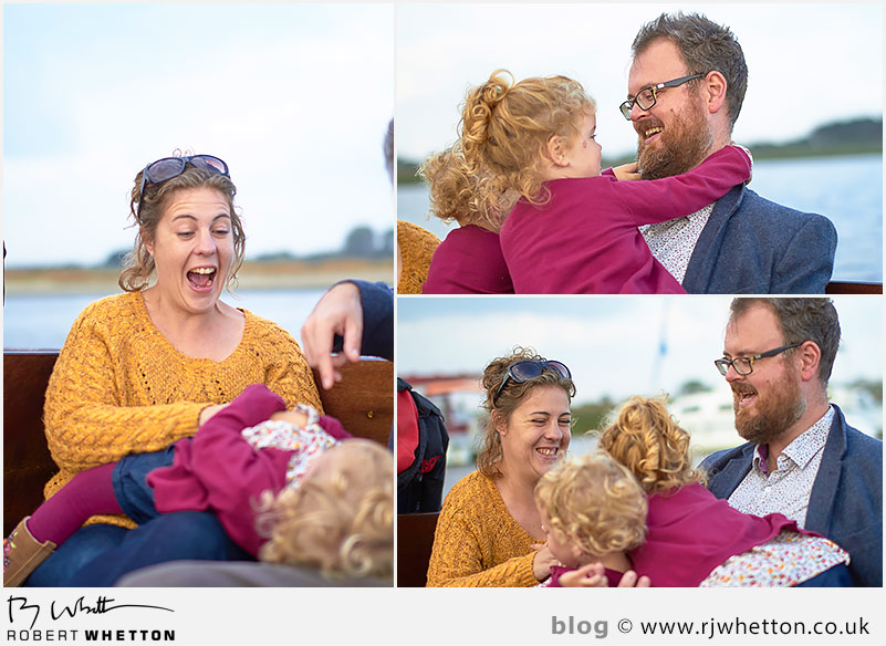 Harper being tickled by mum on the boat - Portrait Photography Dorset