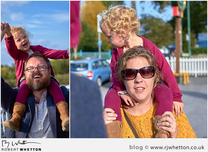 The girls get a shoulder carry to the car - Portrait Photography Dorset