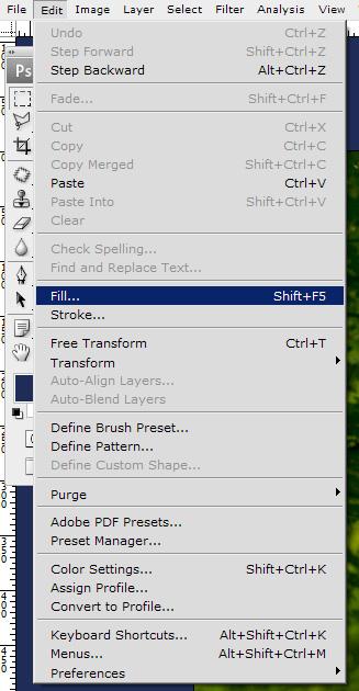 Select Menu, Edit, Fill
